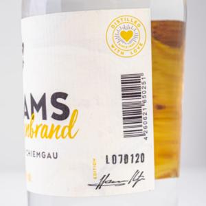 Williams-Birnenbrand 500ml Detailfoto Etikett1 Destillerie Schnitzer