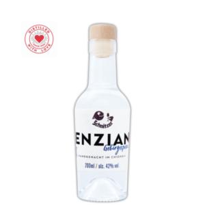 Chiemgauer Enzian Gebrigsspezialität 200ml Frontansicht Destillerie Schnitzer