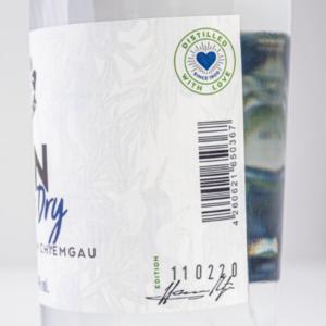 Chiemgauer Gin London Dry 500ml Etikett seitlich 2 Destillerie Schnitzer