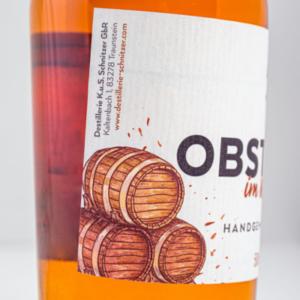 Chiemgauer Obstbrand im Whiskyfass 500ml Etikett 1 Destillerie Schnitzer