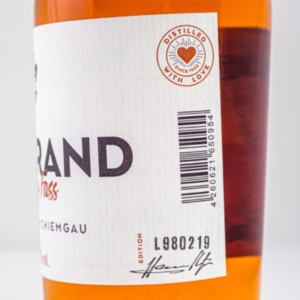 Chiemgauer Obstbrand im Whiskyfass 500ml Etikett 2 Destillerie Schnitzer