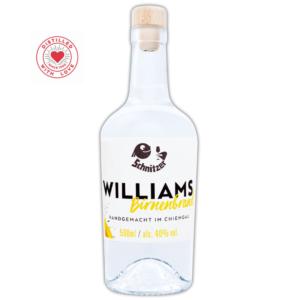 Chiemgauer Williams-Birnenbrand Frontansicht 500ml Destillerie Schnitzer