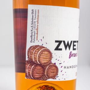 Chiemgauer Zwetschgenbrand im Whiskyfass 500ml Etikett 1 Destillerie Schnitzer