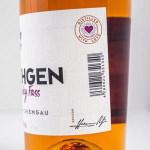 Chiemgauer Zwetschgenbrand im Whiskyfass 500ml Etikett 2 Destillerie Schnitzer